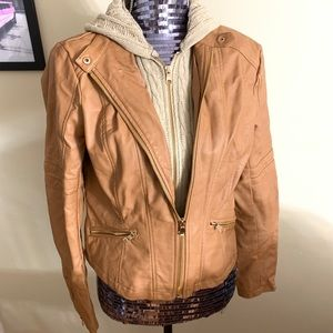 Tan Faux Leather Jacket with Sweater Illusion